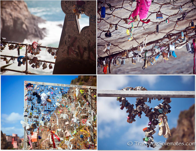 Lovelocks in Via del Amore Trail, Hiking in Cinque Terre, Italy