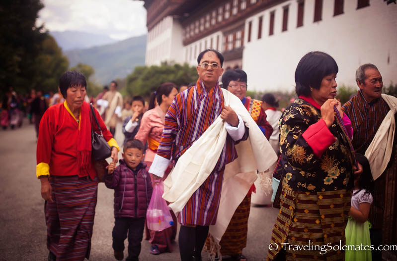 People arriving at Festival (Tsechu) in Tashichho Dzong, Thimphu, Bhutan.