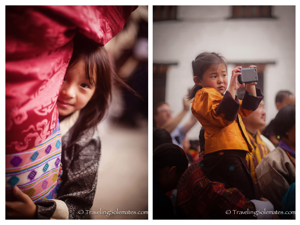 Children in Festival (Tsechu) Tashichho Dzong, Thimphu, Bhutan.