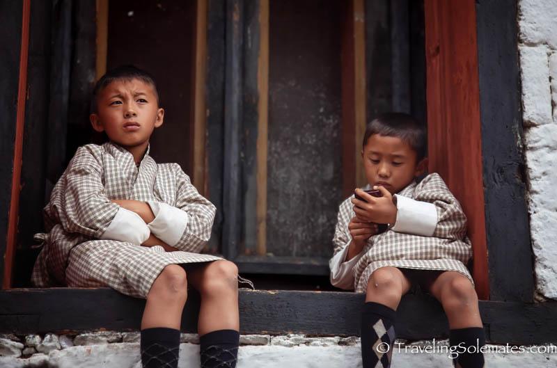 Children in Festival (Tsechu), Tashichho Dzong, Thimphu, Bhutan.