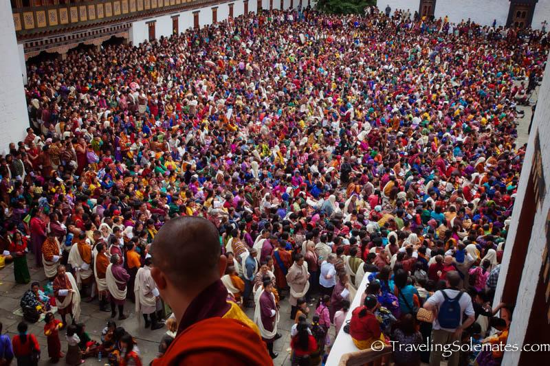 Crowds in Dromchoe Festival, Tashichho Dzong, Thimphu, Bhutan.