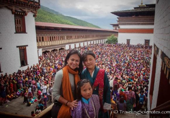 Crowds in Festival (Tsechu), Tashichho Dzong, Thimphu, Bhutan..