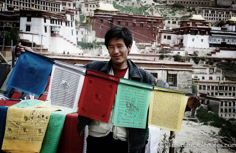 Prayer Flags for sale in Ganden, Tibet