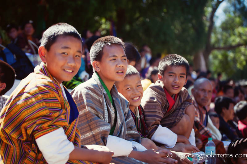 Boys in the audience at the Tsechue Festival in Wangdue, Bhutan
