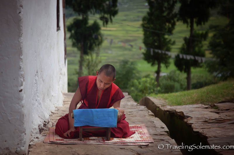 Monks in Chimi Lakhang, Punakha Valley, Buthan