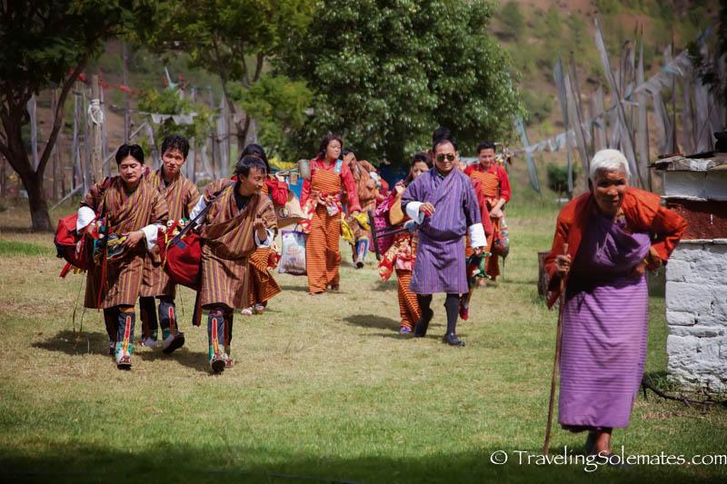 People in Chimi Lakhang, Punakha Valley, Bhutan