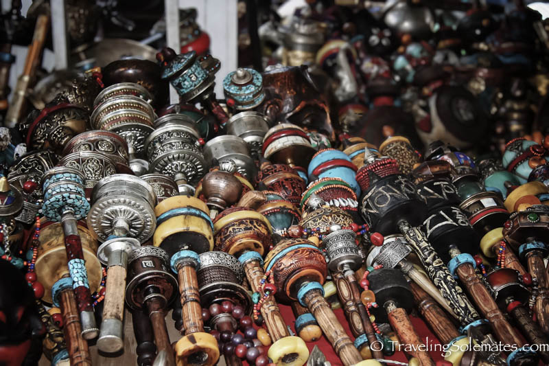 Handheld prayer wheels for sale in Lhasa, Tibet
