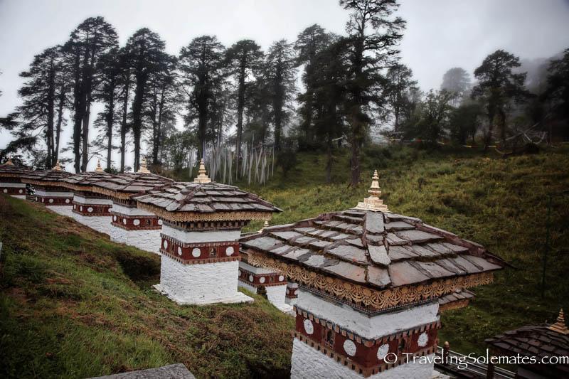 Memorial Stupas in  Dochu La Pass, Bhutan