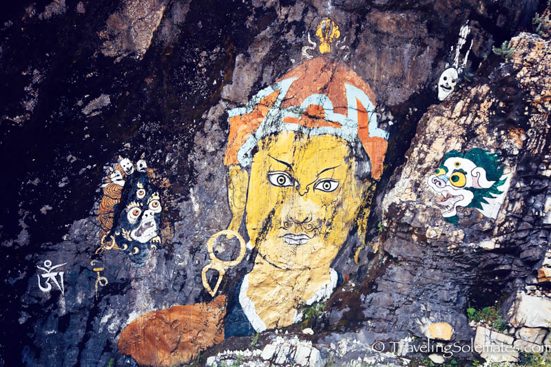 Drawing on the rock wall on the road to Trongsa, Bhutan