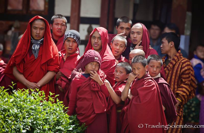 Monk Audience in Tamshing Phala Chhoepa Festival at Tamshi Lhakhang, Bumthang, Bhutan