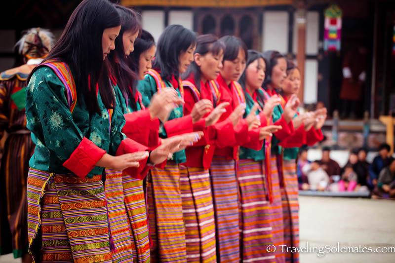 Folk Dances in Tamshing Phala Chhoepa Festival at Tamshi Lhakhang, Bumthang, Bhutan