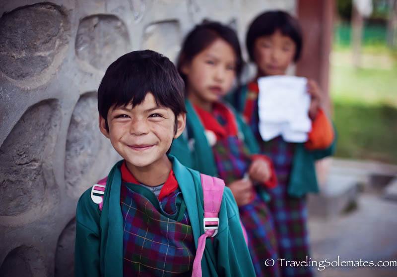 Schoolgirls in Ura Valley, Bumthang, Bhutan
