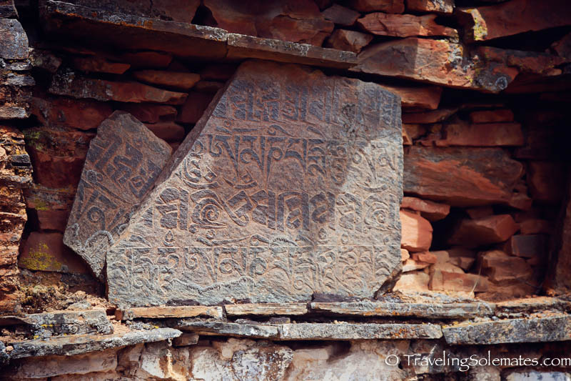 Mantras along Hiking Trail in Ura Valley, Bumthang, Bhutan