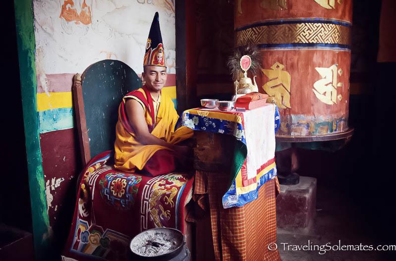 Monk in Ura Temple, Ura Valley, Bumthang, Bhutan