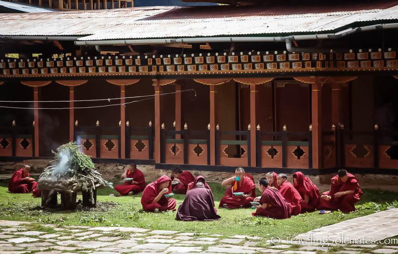 Monks in Ura Temple, Ura Valley, Bumthang, Bhutan