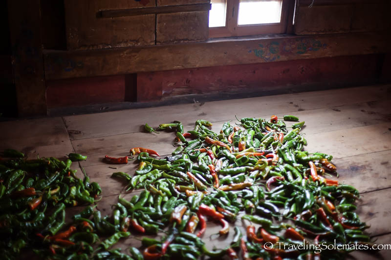 Chilis drying at a House in Ura Valley, Bumthang, Bhutan