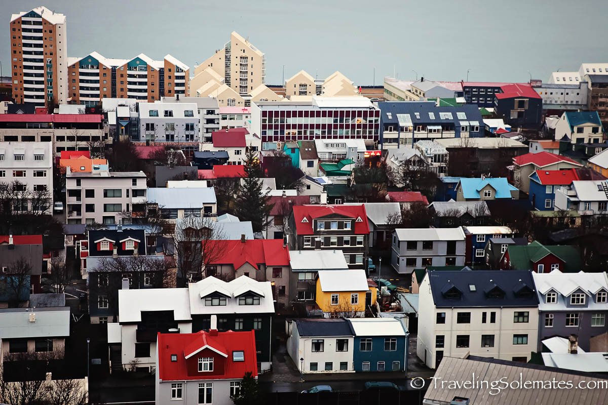 Bird's Eyeview of Colorful Houses and Buildings in Reykjavik, Iceland
