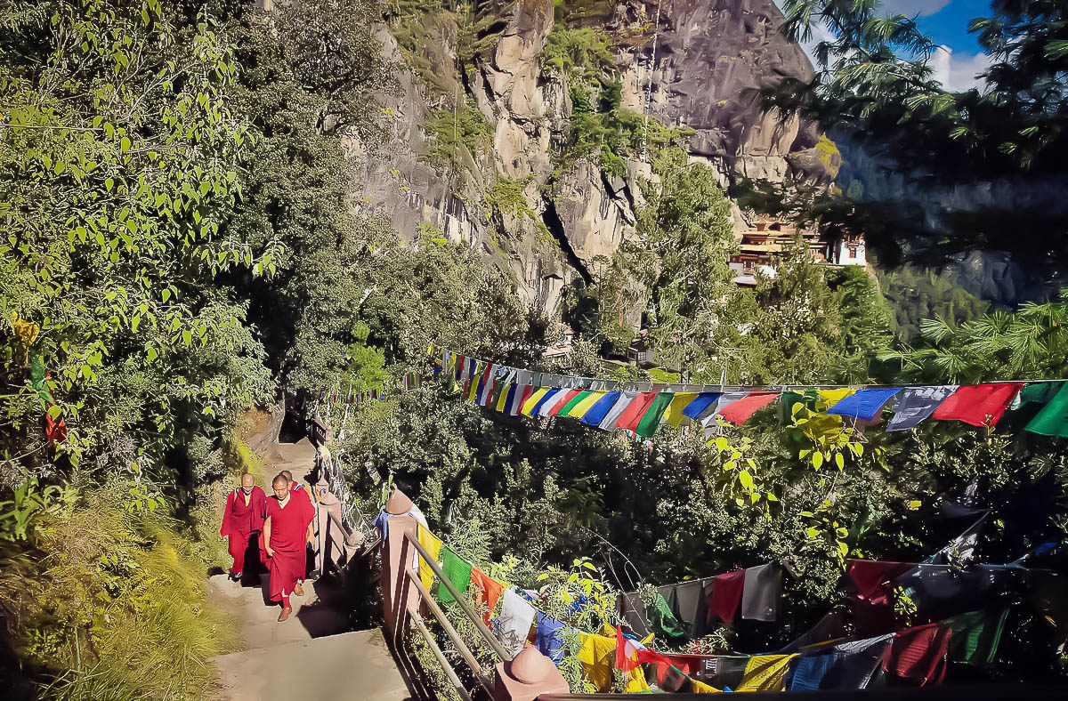 Monks of Stairs on the  Hiking Trail to Tiger's Nest Monastery, Paro, Bhutan