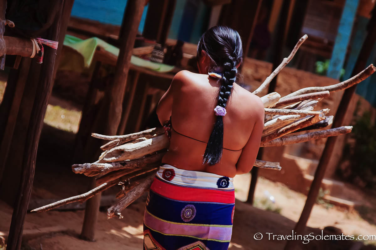 Embera woman gathering woods, Embera Village, Panama