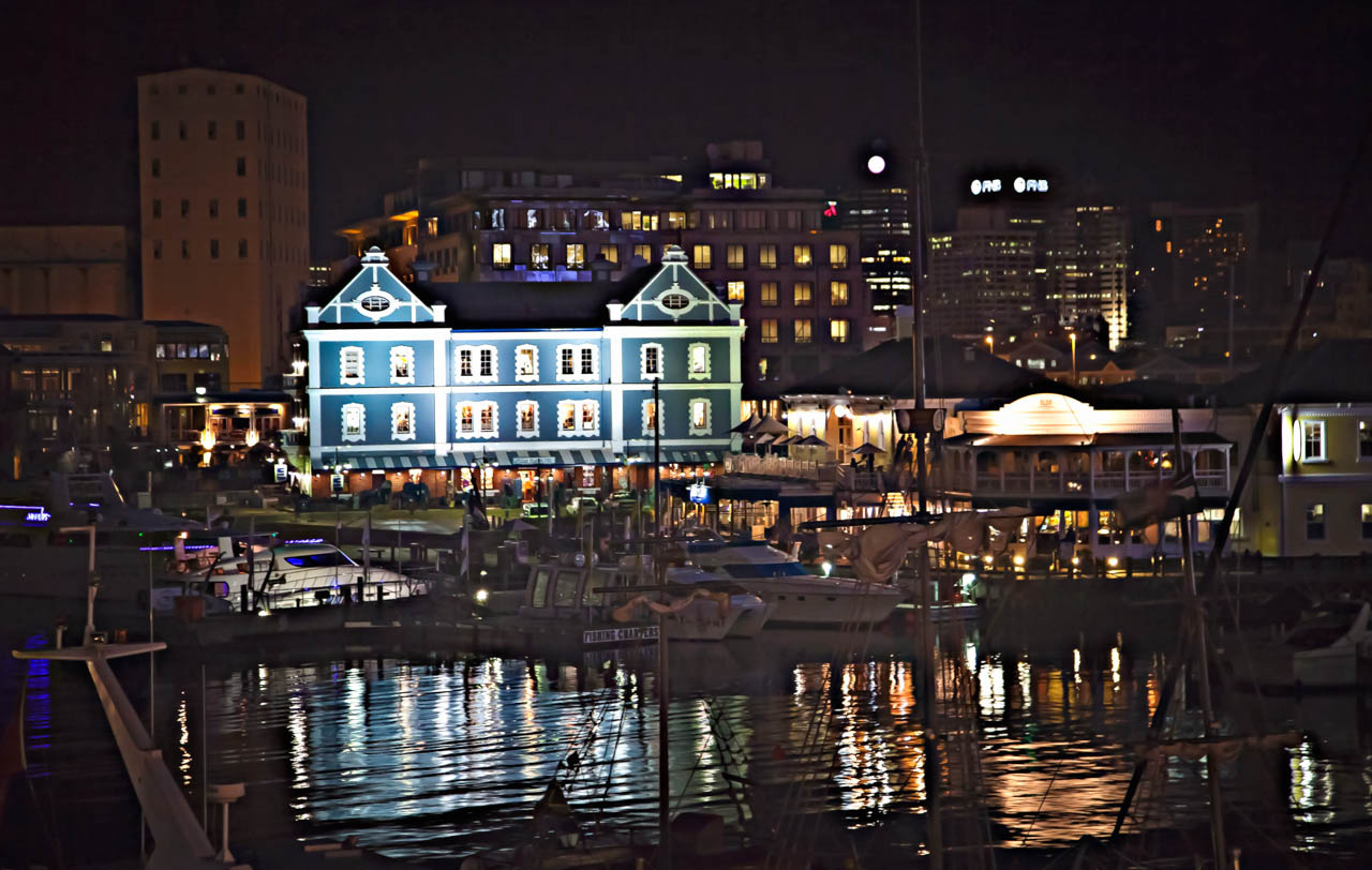 Victoria and Alfred Waterfront at night, Cape Town, South Africa
