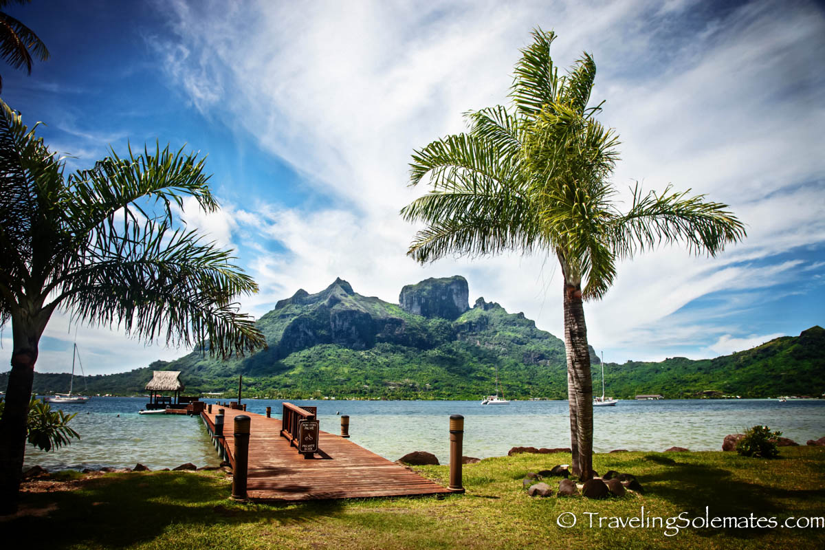 View of Mount Otemanu across Bloody Mary's Restaurant, Bora Bora
