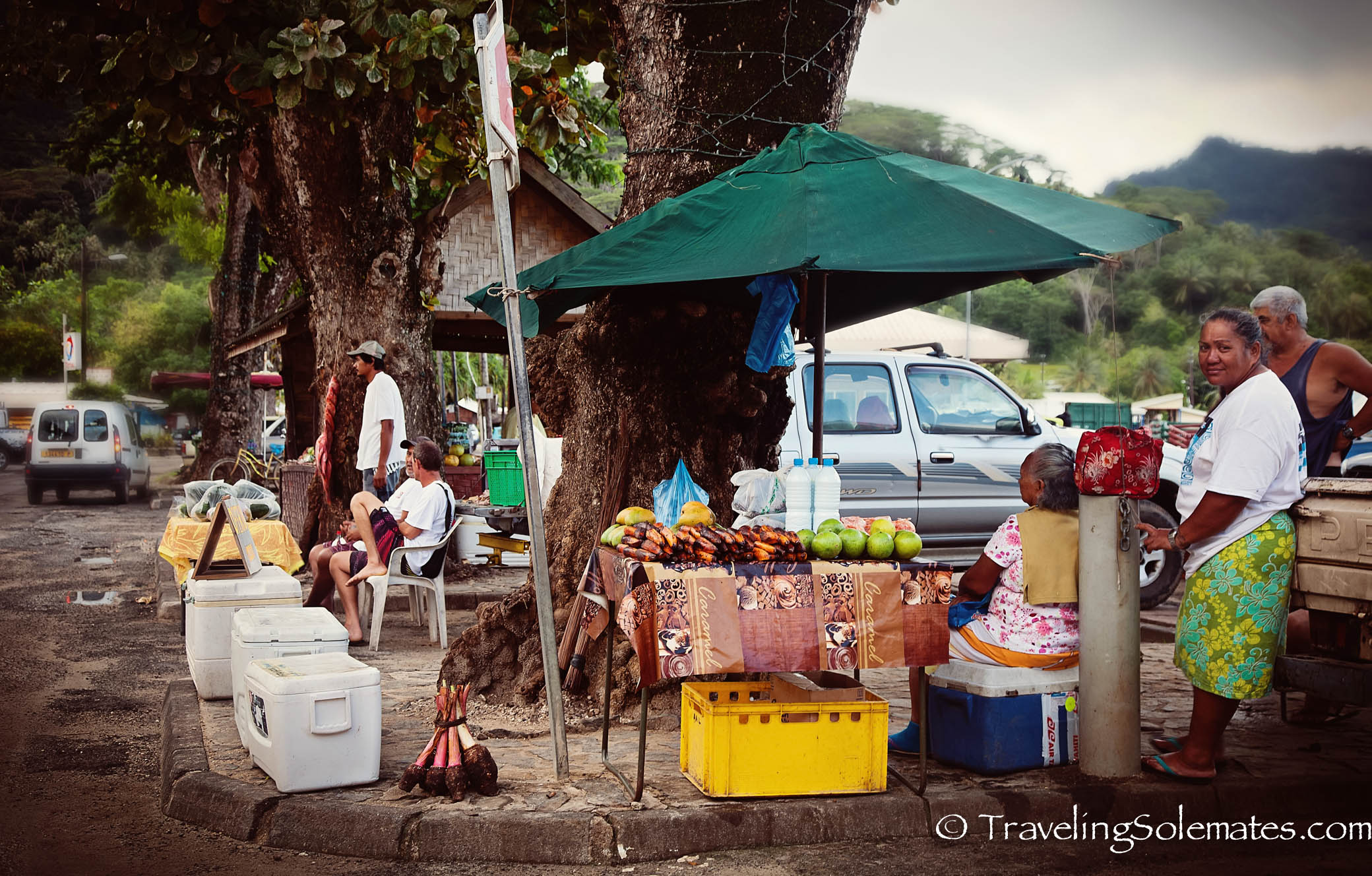 Market in Town of Fare, Huahine, French Polynesia, South Pacific
