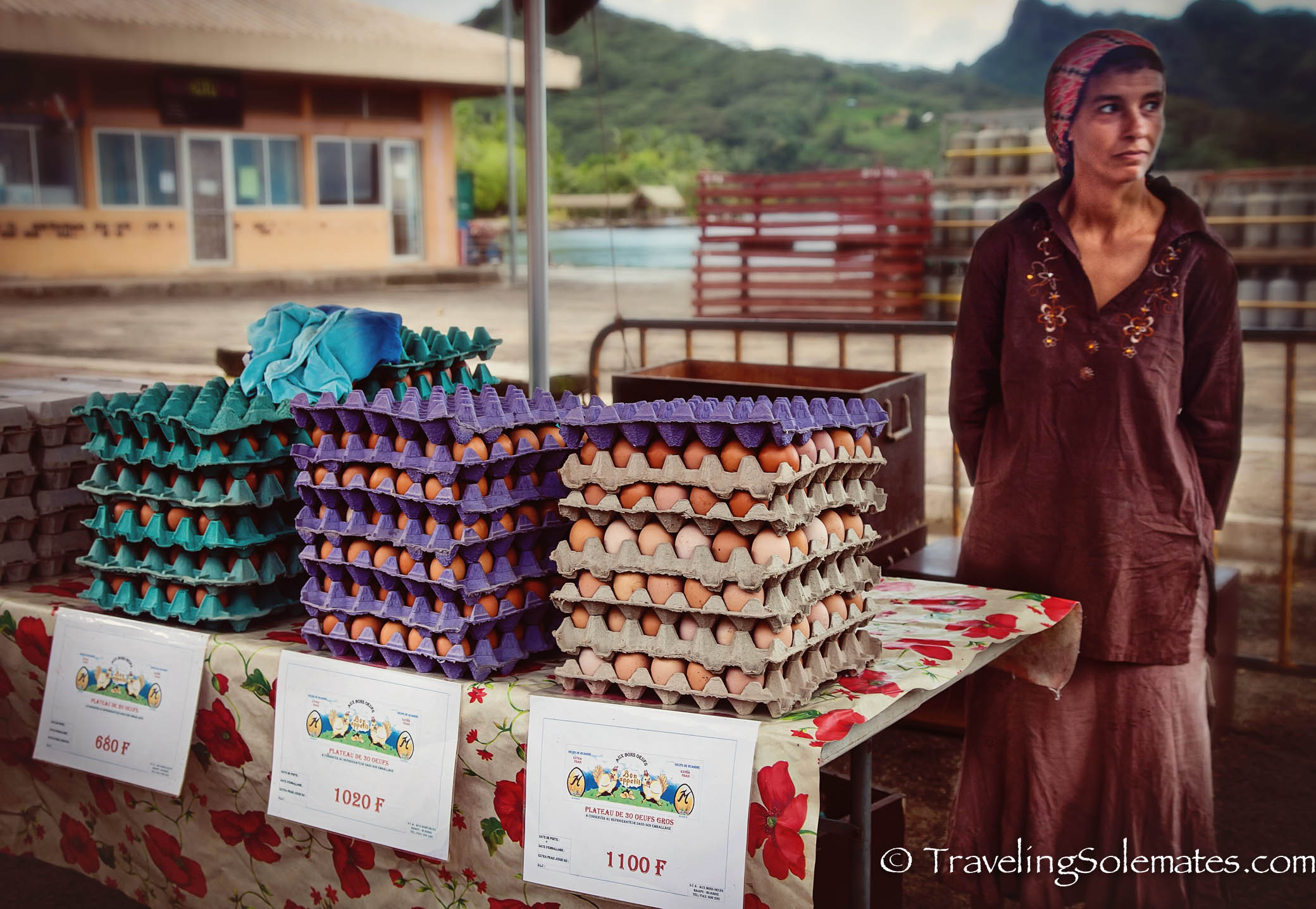 Egg Vendor at Market in Town of Fare, Huahine, French Polynesia, South Pacific