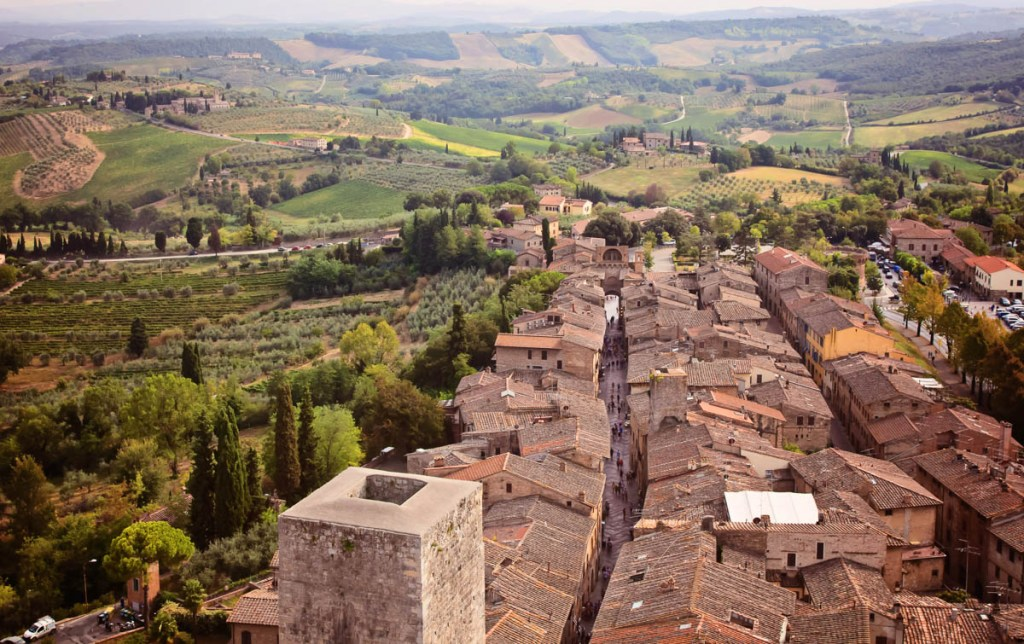 View from Torre Grasso in San Gimigniano, Tuscany, Italy