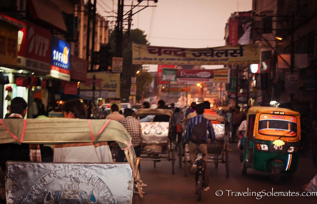 Rickshaw traffic in Varanasi, India, India