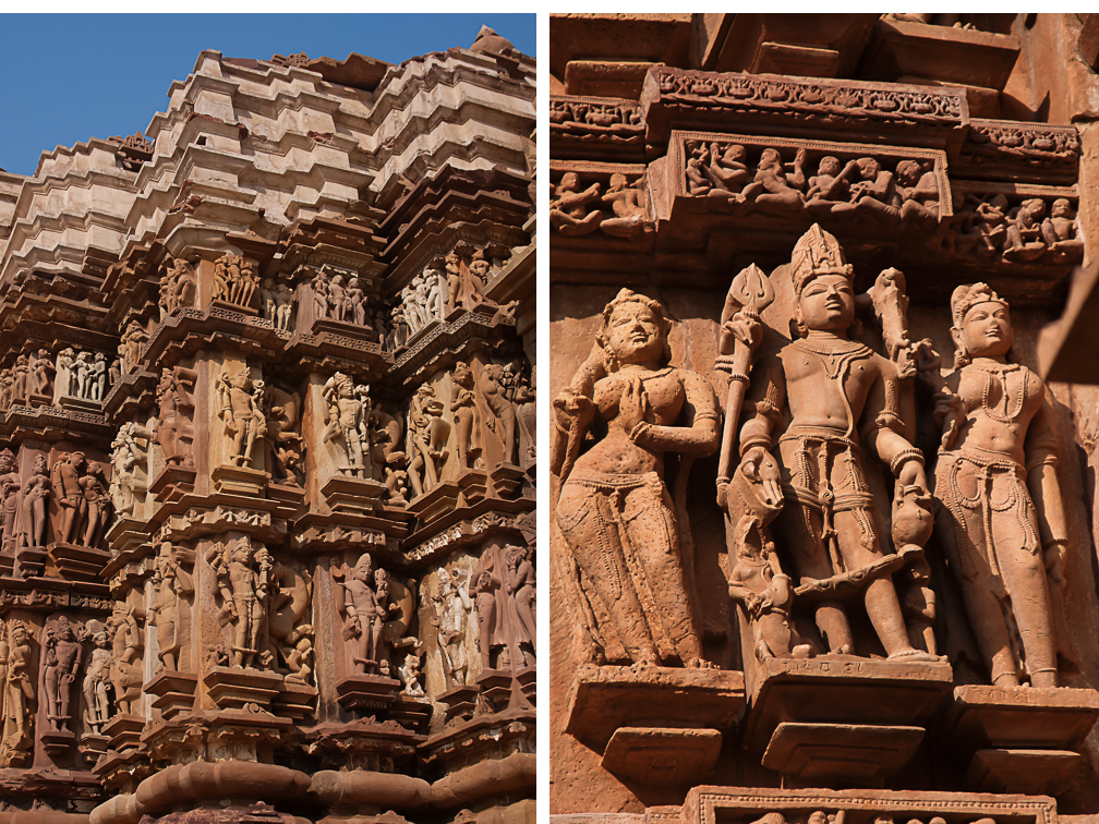 Carvings in Chitragupta Temple, Khajuraho, Inida