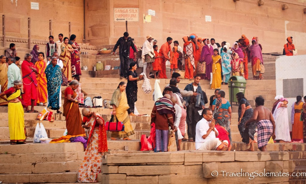 Pilgrims on the Ghats of Ganges River, Varanasi, India