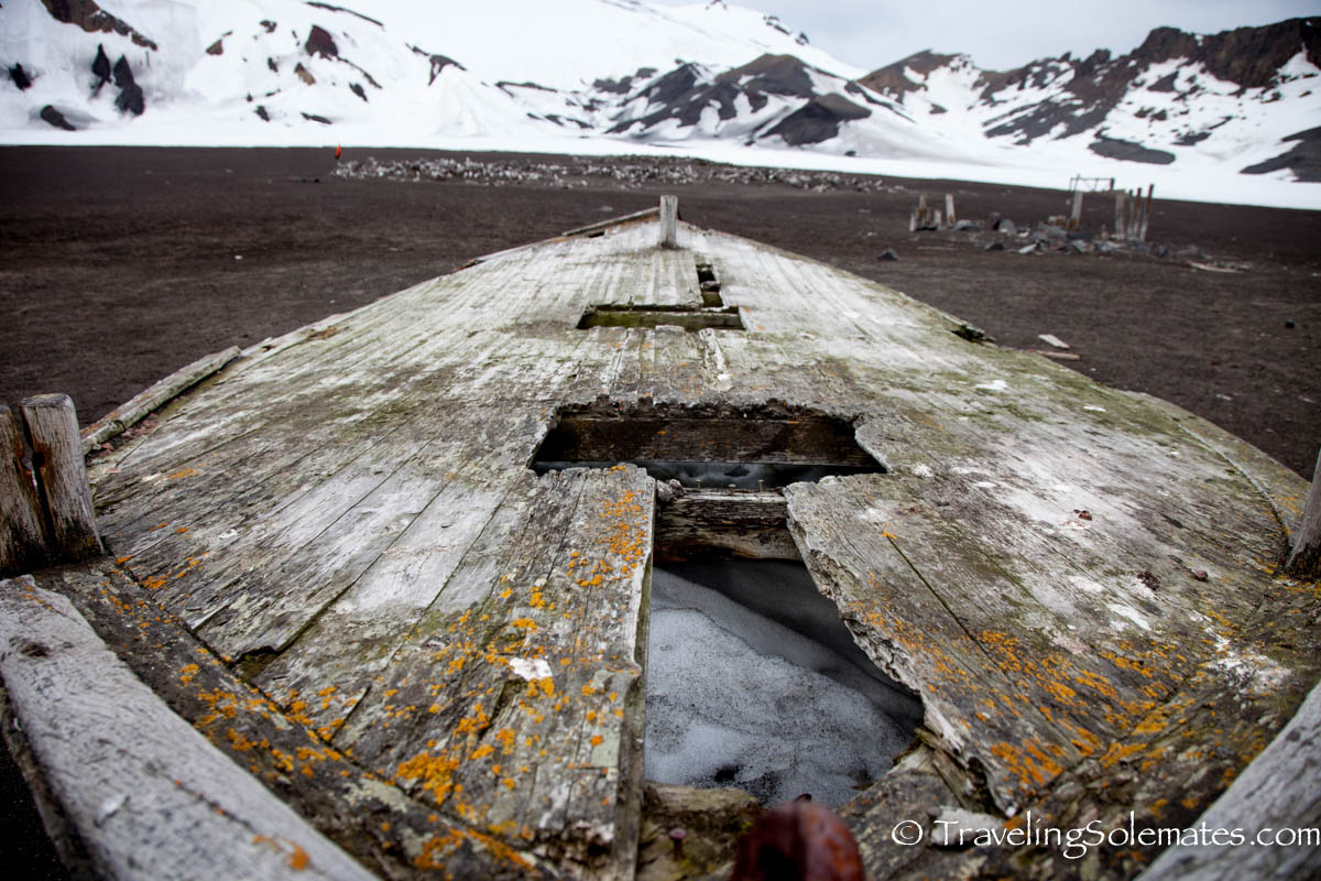 Old whaler's boat in Deception Island, Antarctica