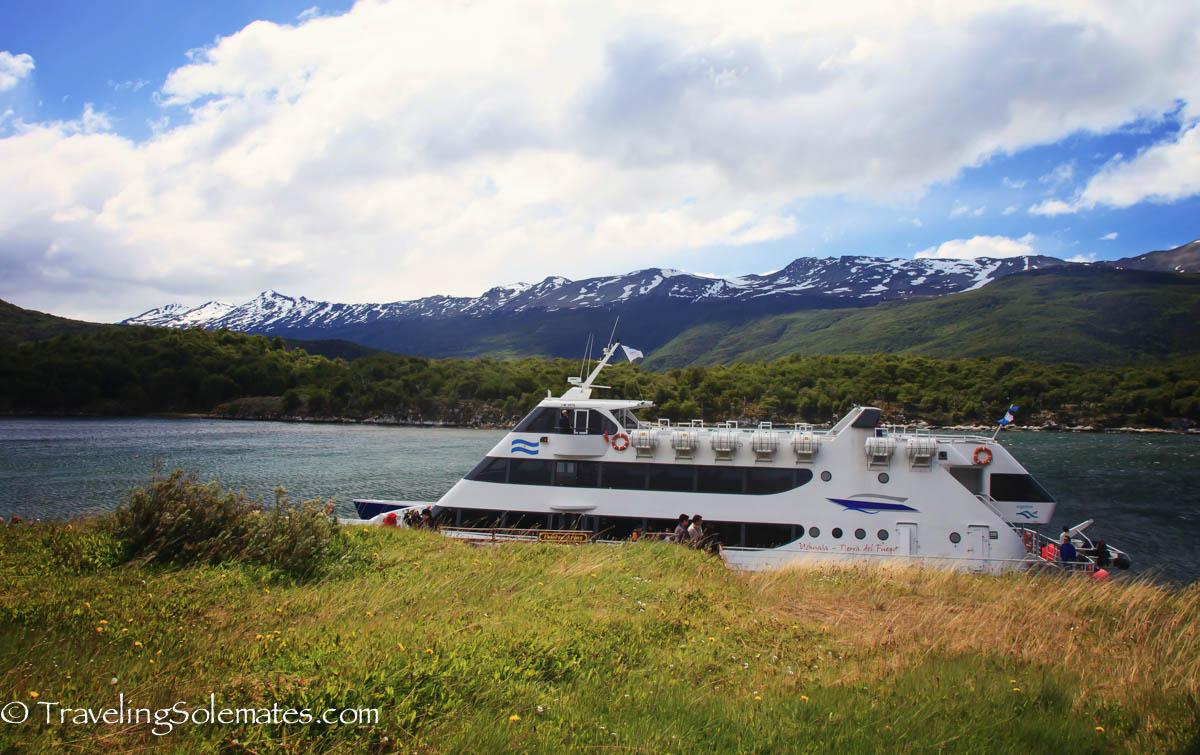 Catamaran in Bahia Lapataia, Tierra del Fuego, Argentina