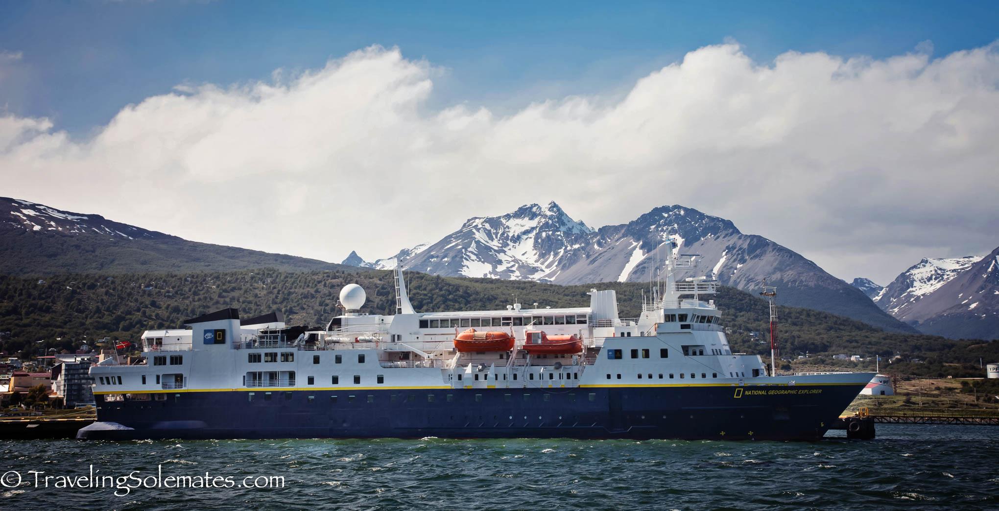 National Geographic Explorer docked in Ushuaia pier, Tierra Del Fuego, Argentina