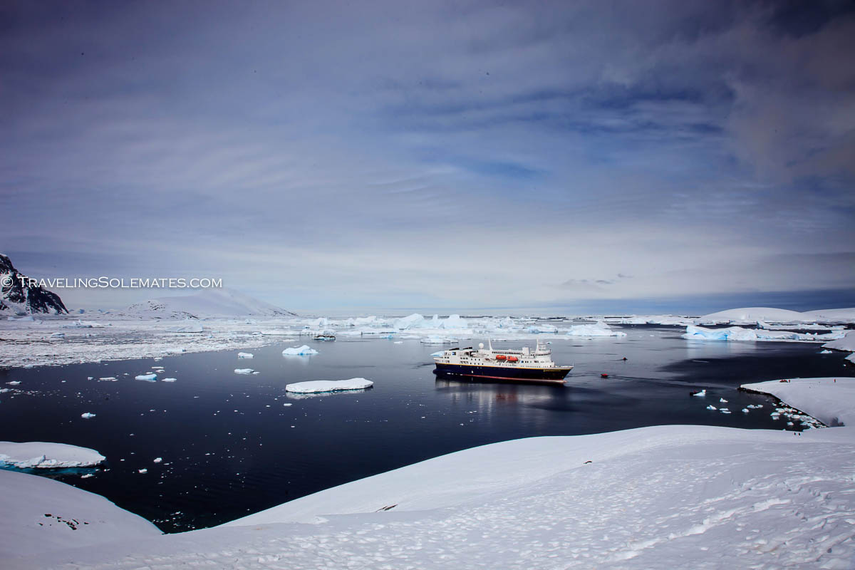 National Geographic Explorer docked near Booth Island, Antarctica