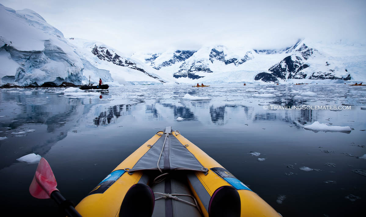 Kayaking in Neko Harbor, Antarctica, National Geographic Explorer Lindblad Expeditions
