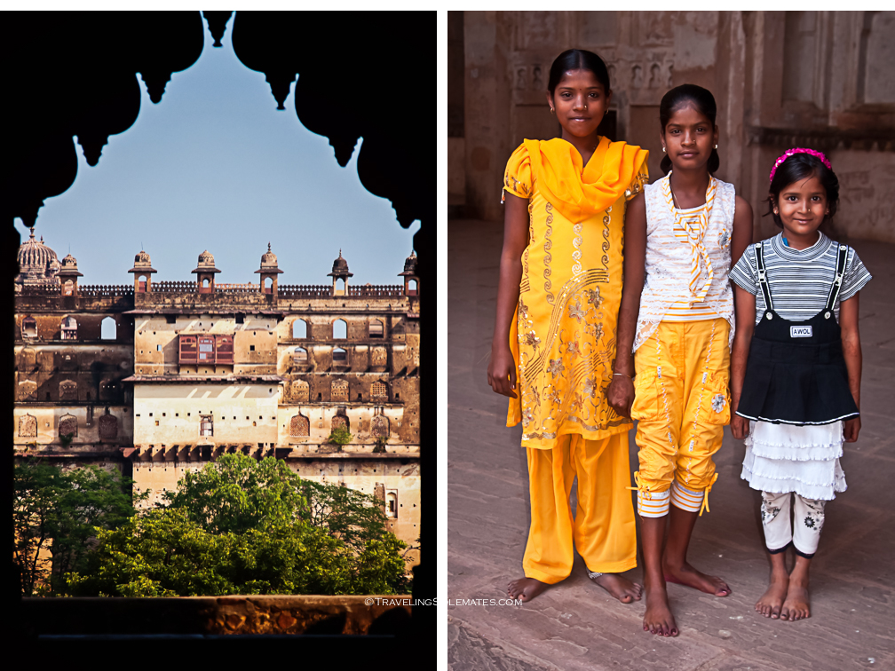 View and children in Chaturbhuj TempleTemple in Orchha