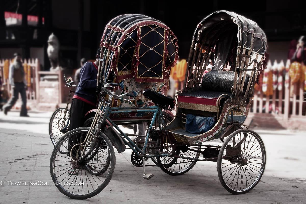Rickshaws in Durbar Square, Kathmandu, Nepal