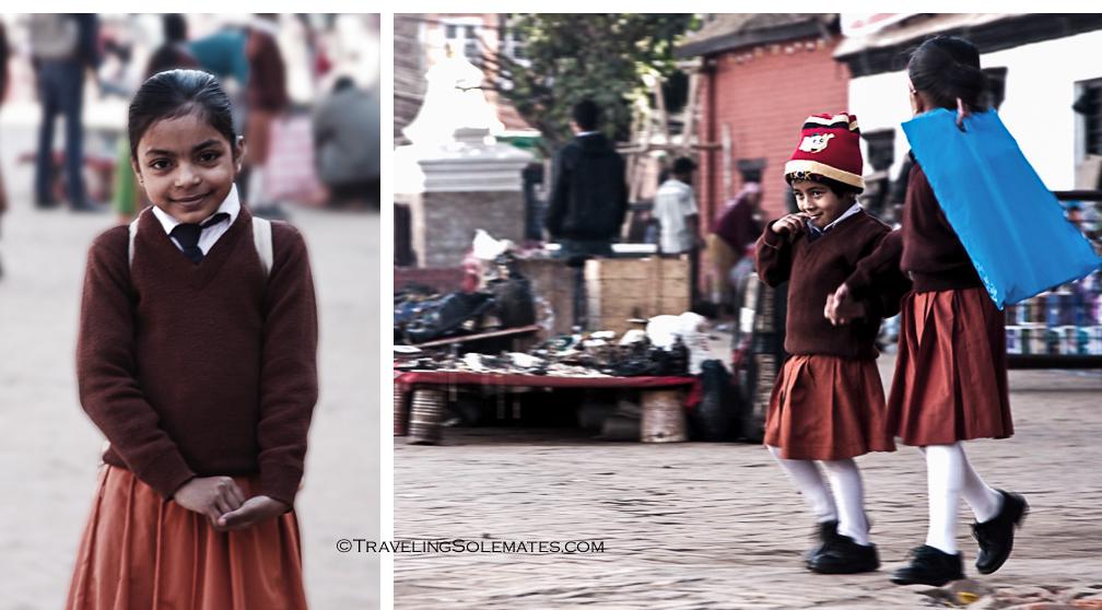 Schoolchildren in Durbar Square, Kathmandu