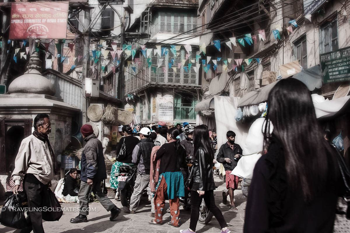 People in Narrow street in old town of Kathmandu, Nepal