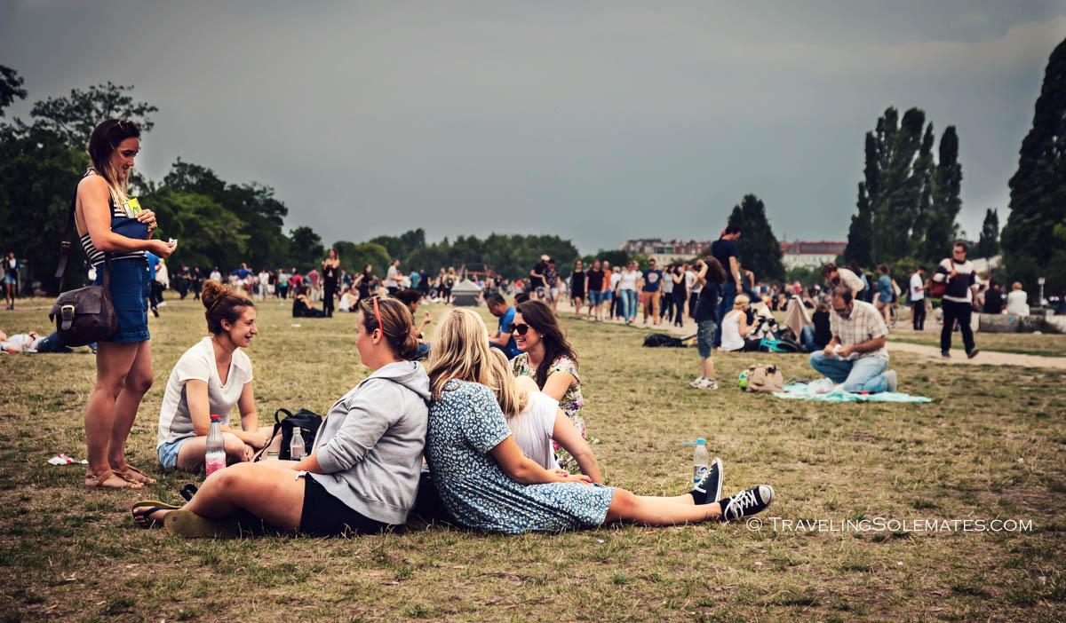 People hanging out on a Sunday in Mauerpark, Berlin, Germnany