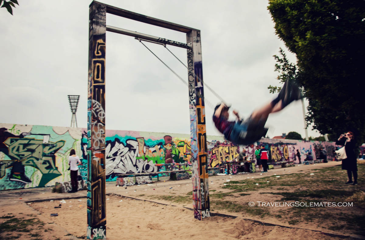 Playground by Berlin Wall in Mauerpark, Berlin, Germany