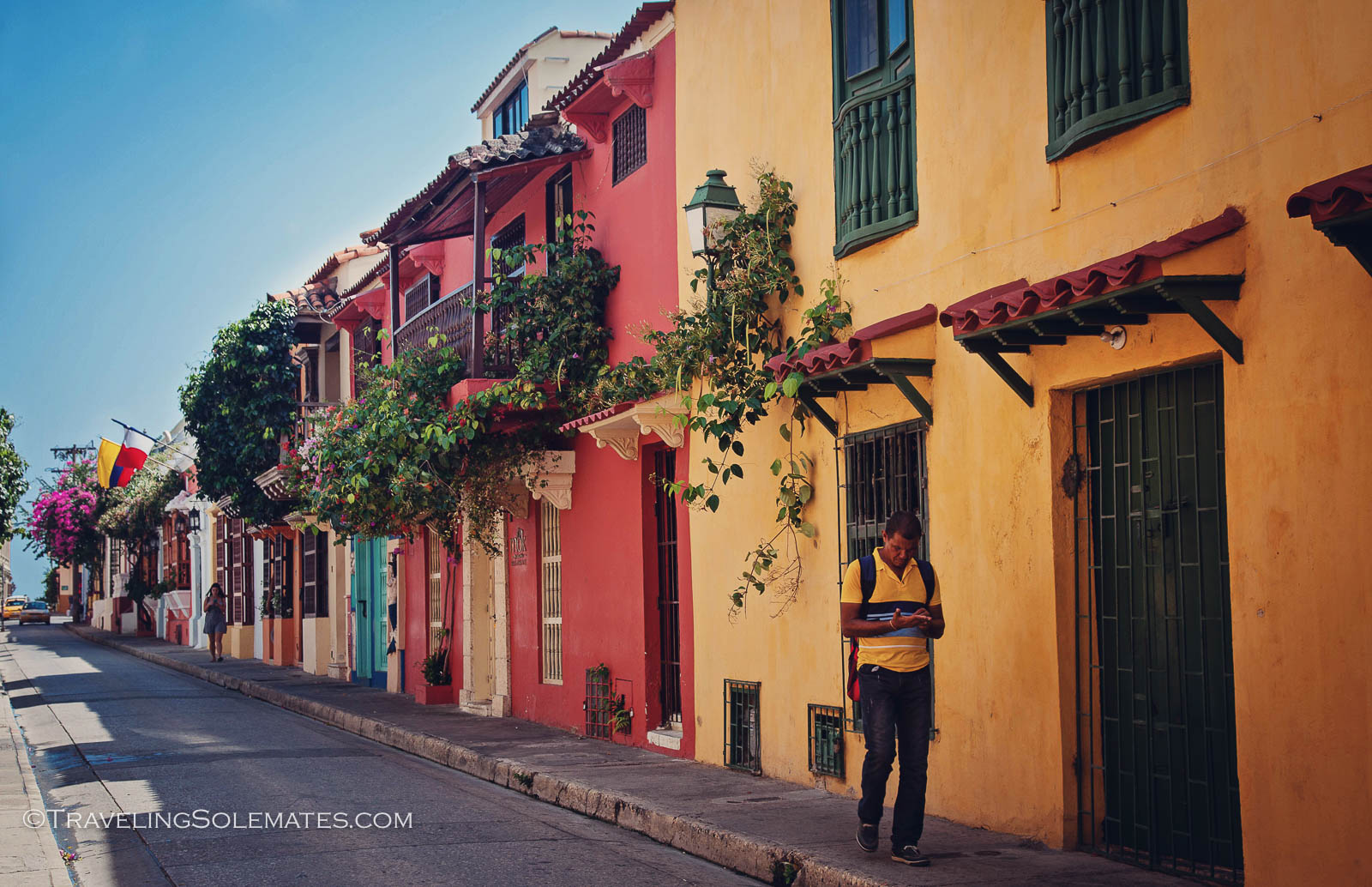 Colorful facades in Old Cartagena, Colombia