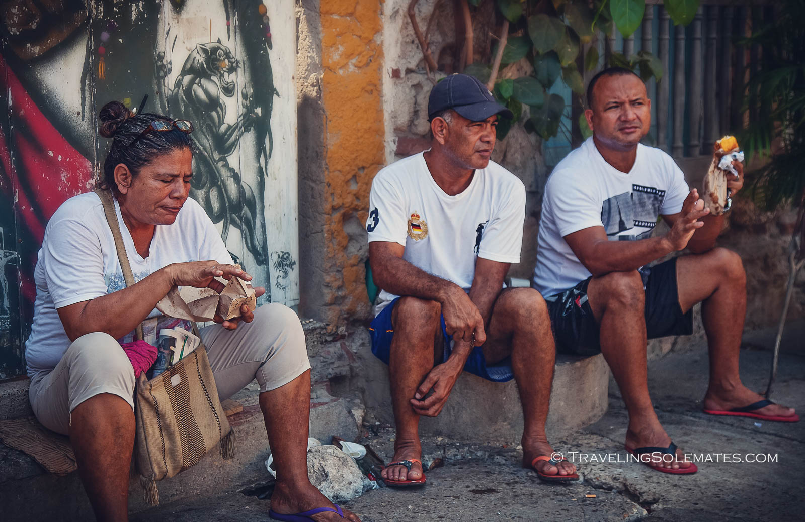 Locals on the street of Getsemani, Cartagena, Colombia