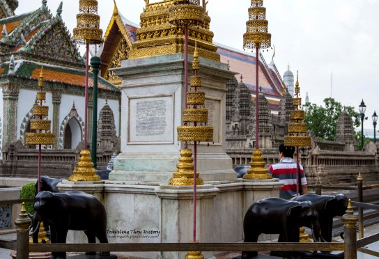Base of the monument to Rama I, II and III. The elephants are made of bronze and are in honor of the white elephants that served the kings of Thailand over the years.