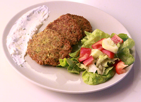 Garbanzo, Bulgar & Veggie Fritters With Mint Tzatziki