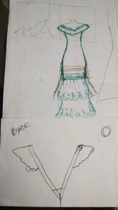 Traveling Wallet Wedding dress design sketch