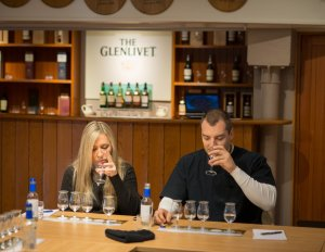 Kristi and Chadd at Glenlivet's Whisky School in Scotland