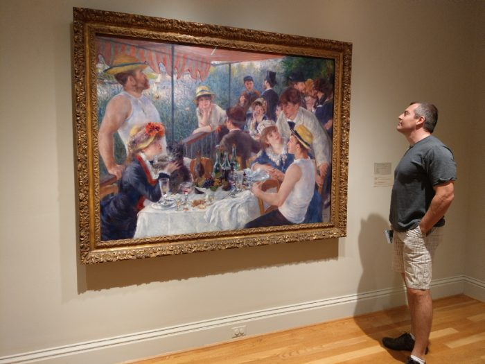 "Chadd admiring Renoir's ""Luncheon of the Boating Party"" at the Phillips Collection in Washington, D.C"