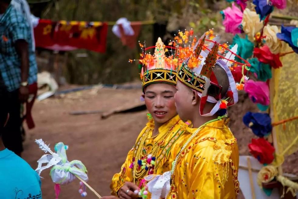 Boys in their royal prince costumes, Myanmar